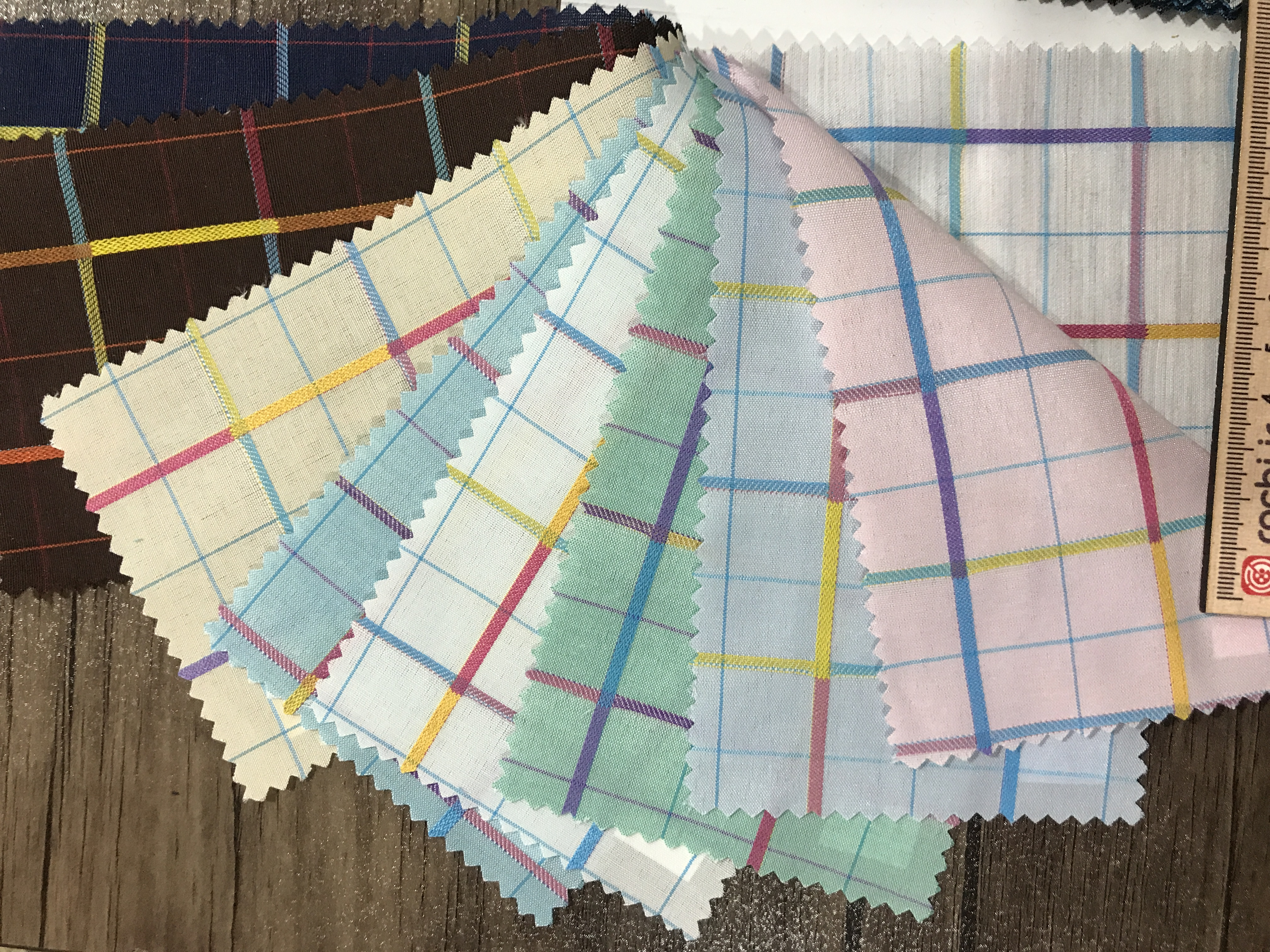 پارچه پیراهنی چهارخانه راه رنگی