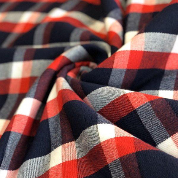 پارچه کشمیر چهارخانه سورمه ای قرمز سپنتا