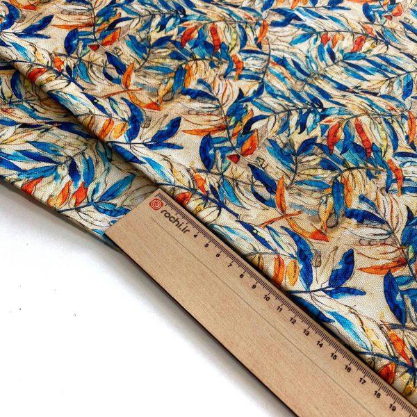 پارچه شانتون چاپی طرح برگ