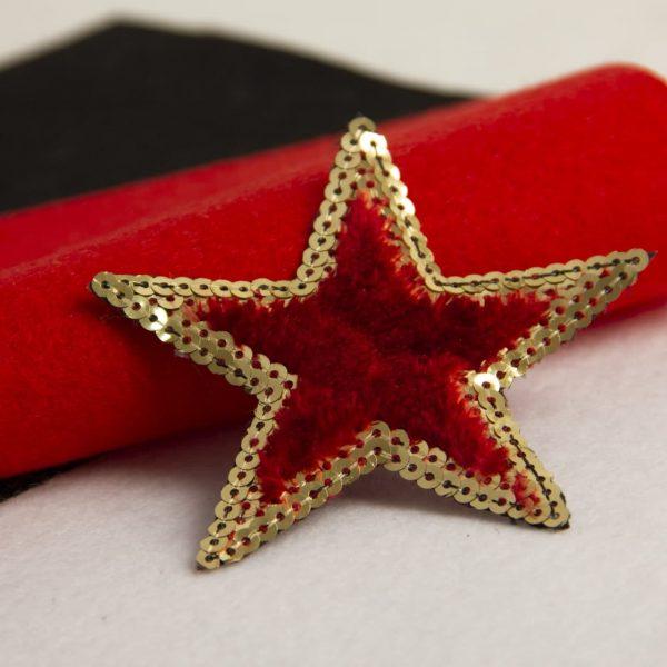 اپلیکه ستاره ببعی پولکی قرمز