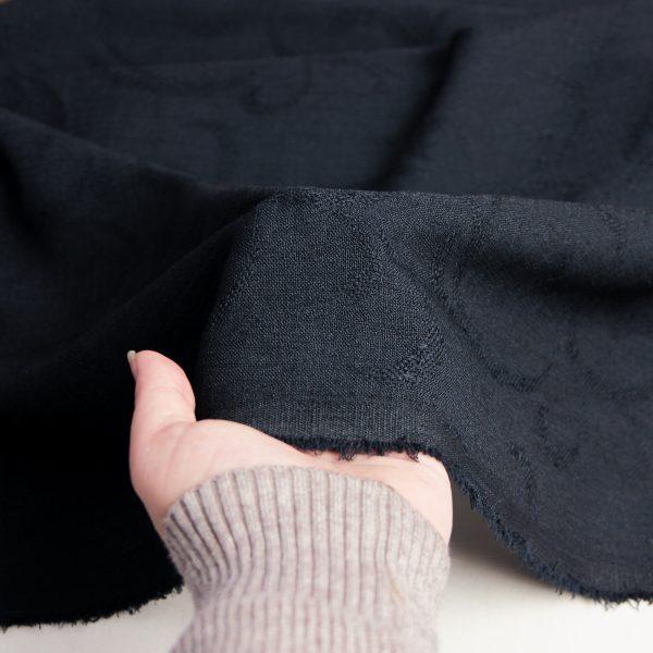 رنگ سورمه ای پارچه شانتون طرح دار سامینا - روچی