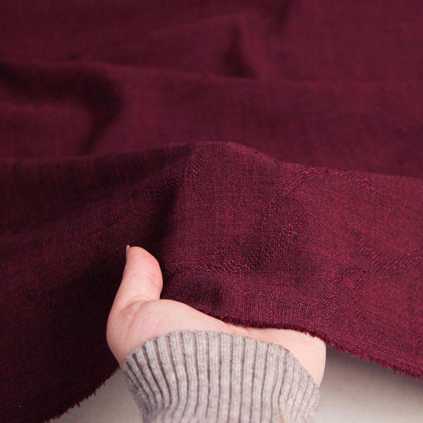 رنگ بادمجانی پارچه شانتون طرح دار سامینا - روچی