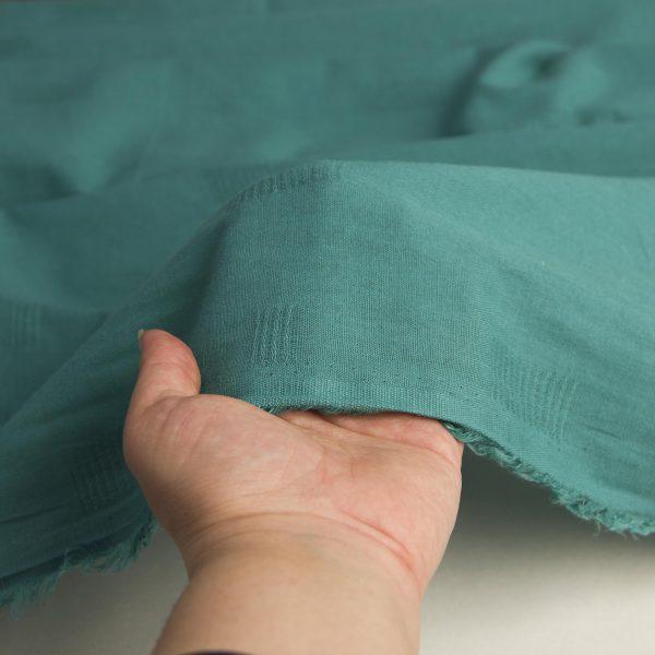 رنگ سبز پارچه لینن نخ طرحدار نارگل - روچی