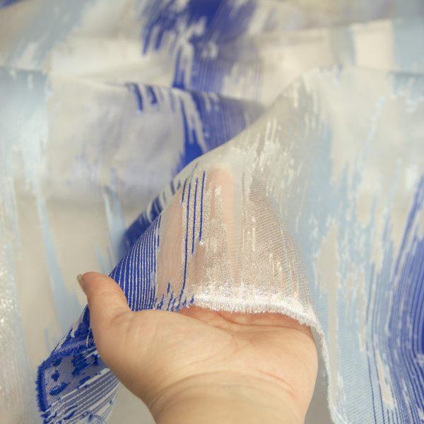 رنگ آبی پارچه ژاکارد ارگانزا پریفام - روچی