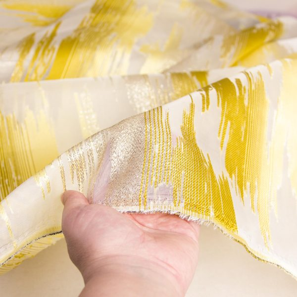 رنگ زرد پارچه ژاکارد ارگانزا پریفام - روچی